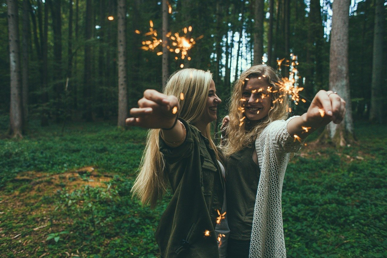 girls, sparklers, fireworks